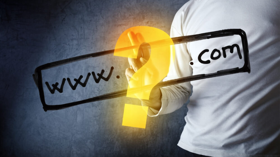 What is your com internet domain, conceptual image with man pushing virtual screen graphics.